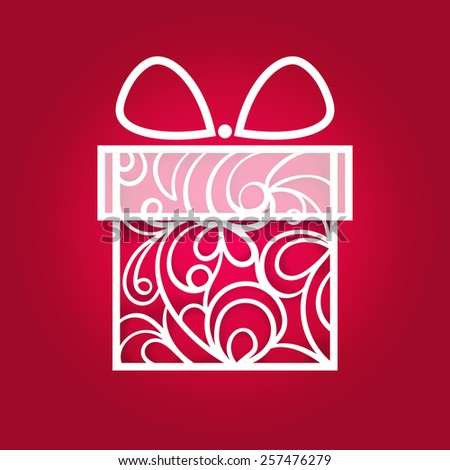 Red and white gift box (lace ornament style) - stock vector