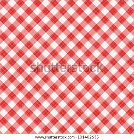 Red and white gingham cloth background with fabric texture, suitable for Mother's Day designs, plus seamless pattern included in swatch palette ( for high res JPEG or TIFF see image 101402638 ) - stock vector