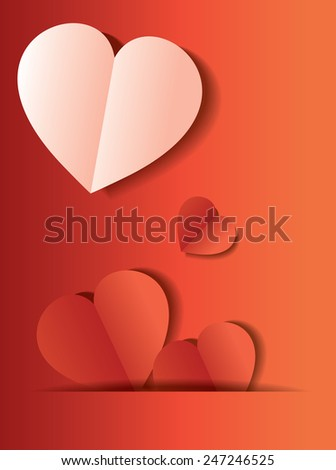 Red and white Heart Paper Sticker With Shadow Valentine's day vector illustration Postcard eps 10 - stock vector