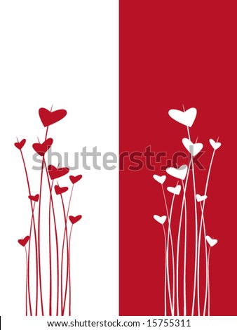 red and white hearts - stock vector
