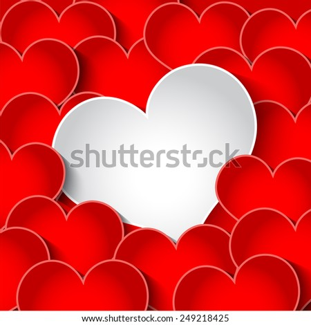 Red and White Hearts Valentines Day Card, Vector Illustration EPS 10. - stock vector