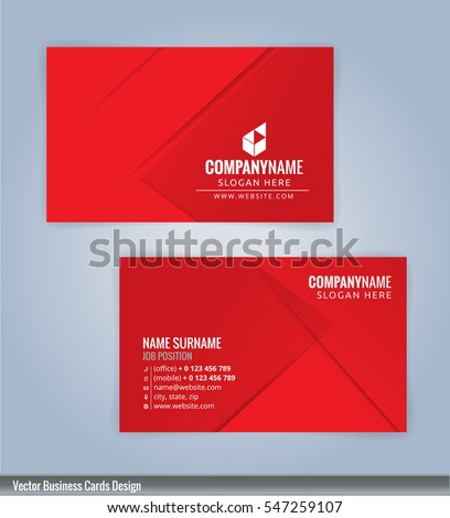 Red white modern business card template stock vector 547259107 red and white modern business card template vertical illustration vector 10 wajeb Images