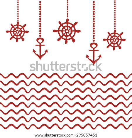 Red and white nautical template - stock vector