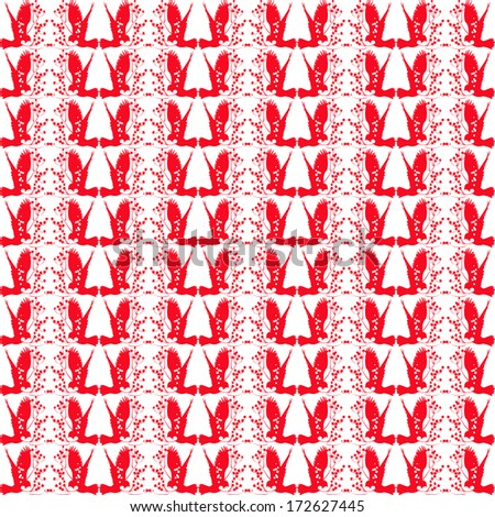 Red and white repeating patterns - stock vector