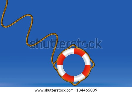Red and white rescue ring against skyscrapers - stock vector