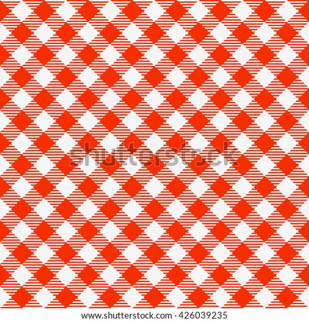 Red and white seamless checkered tablecloth. Traditional gingham pattern, checkered fabric, tablecloth texture. Vector illustration. - stock vector
