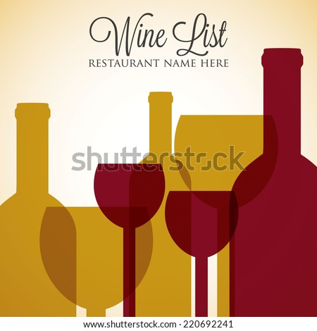 Red and white wine list menu cover in vector format. - stock vector