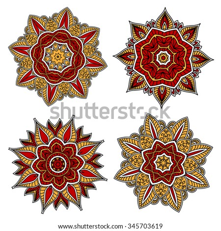 Red and yellow circular floral patterns with abstract red and yellow flowers, adorned by openwork ornaments. May be use in tile or textile design  - stock vector