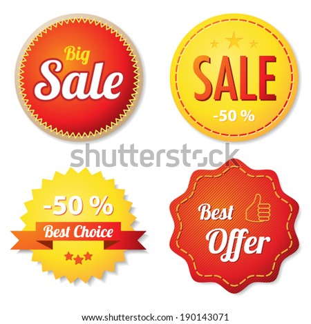 Red and yellow offer labels - stock vector