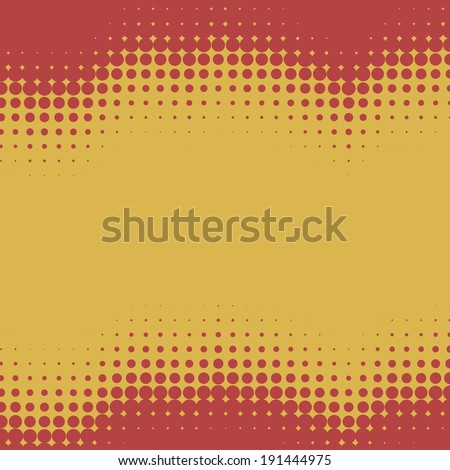 Red and yellow wavy halftone background with copy space. - stock vector