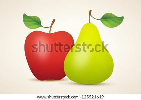 Red apple and green pear. Vector illustration created using gradient meshes - stock vector