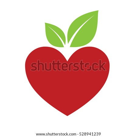 Red Apple Heart  isolated on white background vector illustration