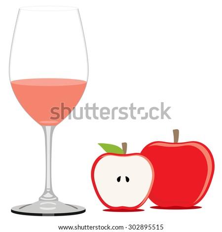 Red apple juice vector illustration. Fruit juice. Apple juice glass - stock vector