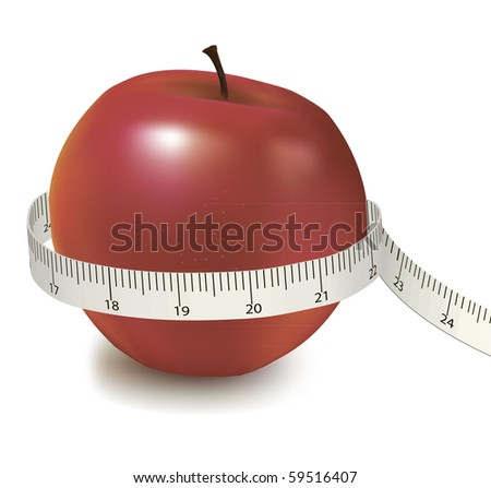 Red apple measured the meter. Vector. - stock vector