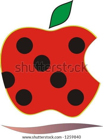 red apple with black dots - stock vector