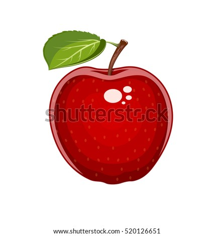 Red apple with leaf. Natural sweet fruit. Isolated white background. Organic healthy vegan food. Vector Illustration