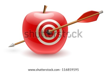 Red apple with target hit with arrow - stock vector