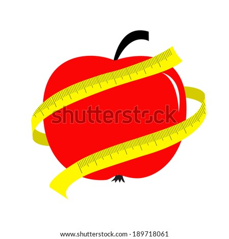 Red apple with yellow measuring tape ruler. Diet concept card. Vector illustration - stock vector
