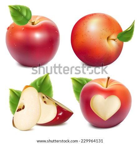 Red apples and apples slices with green leaves and water drops. Photo-realistic vector illustration. - stock vector