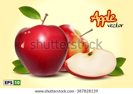 Red Apples with Green Leaves and Apple Slice - Vector Illustration. Realistic Two Apples Isolated.  - stock vector