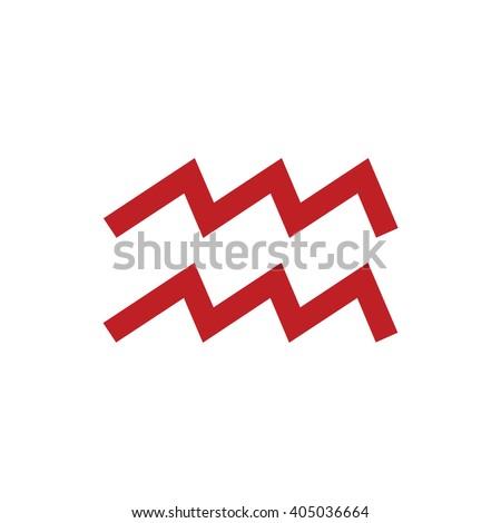 Red Aquarius Zodiac Sign Astrology Symbol Stock Vector 405036664