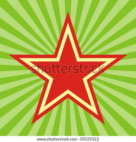 Red army star on green radiant background - stock vector