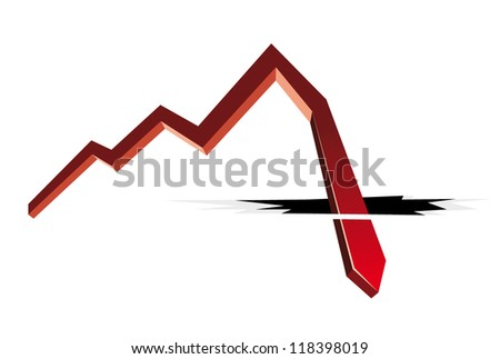 red arrow and cracks - stock vector