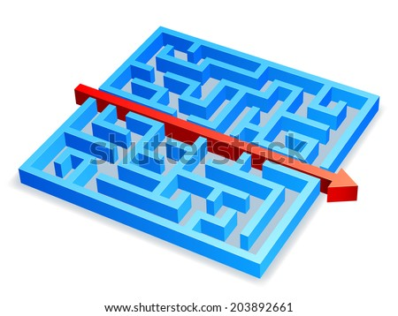 Red arrow breaking through blue maze. - stock vector