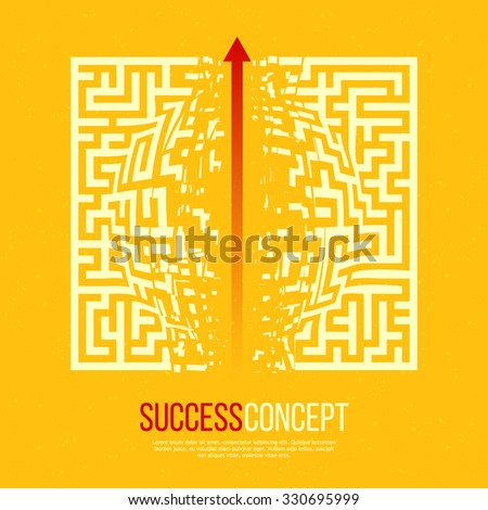 Red Arrow Crashes Through the Walls of a Maze to Freedom.  Business Solution / Success Concept. Vector Illustration. - stock vector