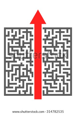 red arrow cutting through a complicated maze, eps10 vector illustration