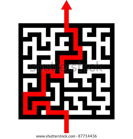 red arrow going through the maze. path across a labyrinth, eps 8 vector - stock vector