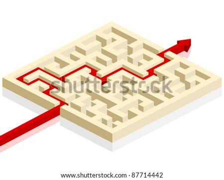 red arrow going through the maze. path across a labyrinth, eps 8 vector - stock vector
