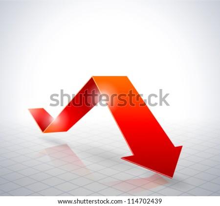 Red Arrow Graph - stock vector