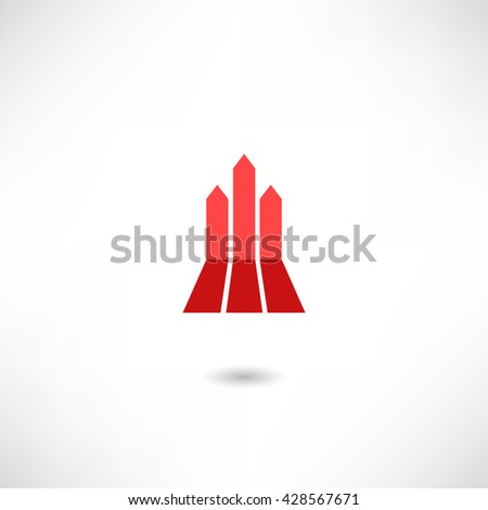 Red arrow isolated on white background - stock vector