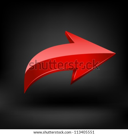 Red arrow on black background. - stock vector