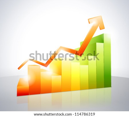 Red arrow on colorful bar chart - stock vector