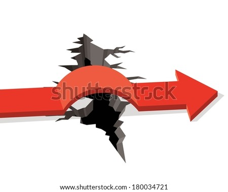 red arrow passing obstacle, big crack in ground  - stock vector