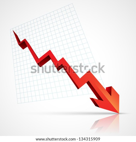 red arrow pointing downwards showing crisis - stock vector