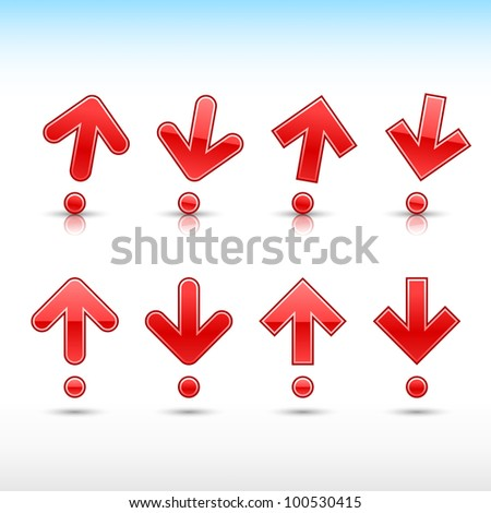 Red arrow sign in form of exclamation mark. Glossy and satined shapes with reflection on white background. Vector illustration saved in 10 eps. - stock vector