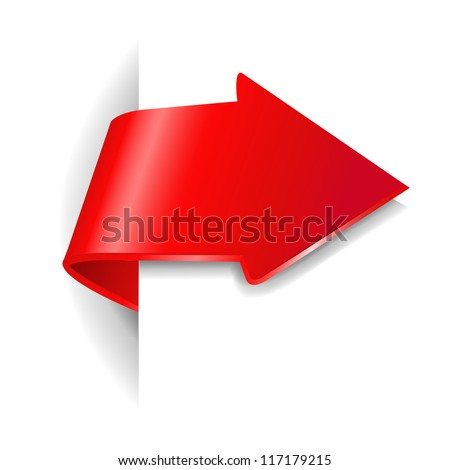 Red Arrow With Gradient Mesh,  Vector Illustration - stock vector