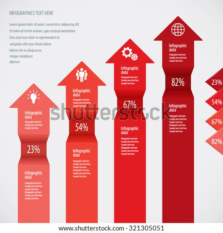 Red Arrows Infographic Background - Icons and arrows for 4 options. EPS10 vector - stock vector