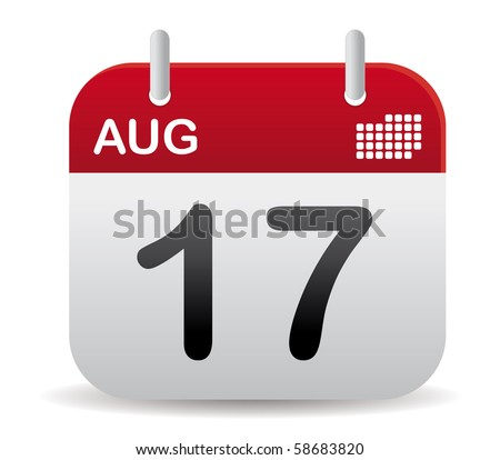 red august calendar stand up - stock vector