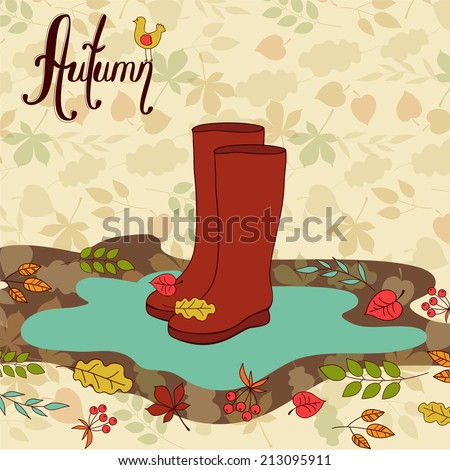 red autumn boots - stock vector