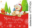 Red baby winter background with Funny young Teddy bear. Merry Christmas and a Happy New-Year's greeting sweet postcard. Vector illustration. - stock