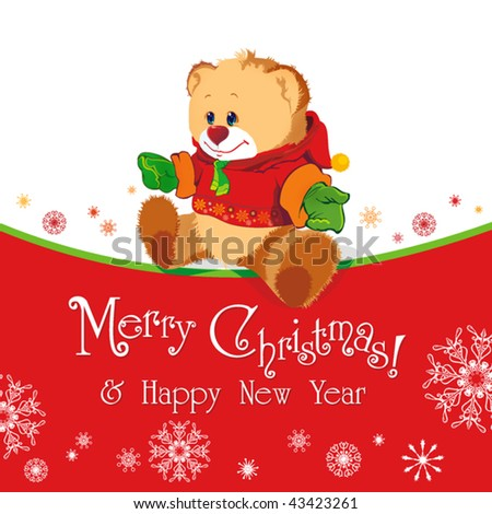 Red baby winter background with Funny young Teddy bear. Merry Christmas and a Happy New-Year's greeting sweet postcard. Vector illustration. - stock vector