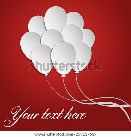 Red background card with paper baloons - stock vector