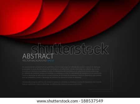 Red background curve line on black background space shadow overlap and dimension modern texture pattern for text and message website design - stock vector