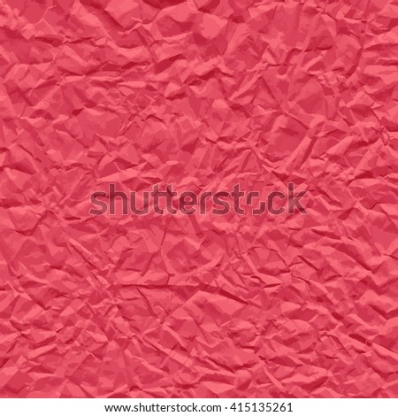 Red background texture of auto traced crumpled paper. Vector illustration.