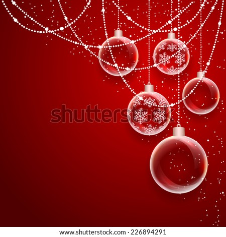 Red background with Christmas balls and falling snow, illustration. - stock vector