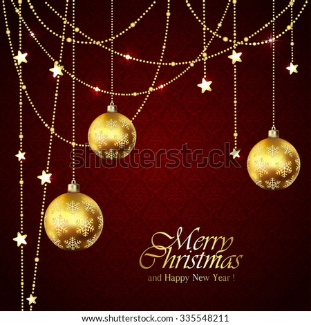 Red background with Christmas balls and golden stars, illustration. - stock vector